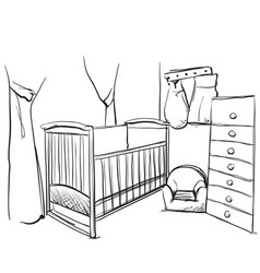 drawn children room furniture sketch baby bed vector image