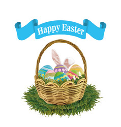 easter eggs rabbit greeting card vector image