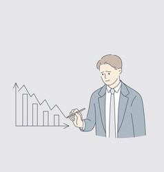 economical downturn debts bankruptcy concept vector image