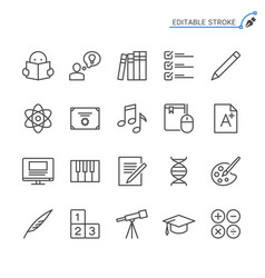 Education line icons editable stroke vector