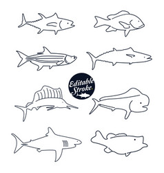 Fish icons editable outline vector