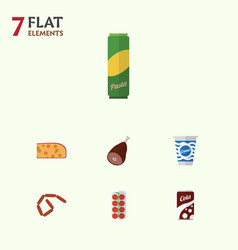 Flat icon food set of bratwurst tomato yogurt vector