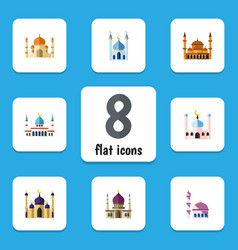 flat icon mosque set of traditional muslim vector image
