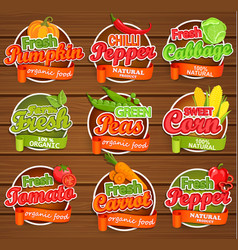 Fresh vegetable labels vector