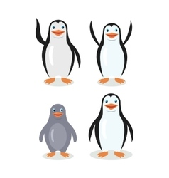 Funny Emperor King Penguins Set Isolated on White vector