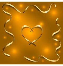 Gold silk heart with frame ribbons vector