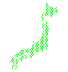 green honeycomb japan map vector image