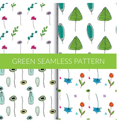 green seamless patterns by hand vector image
