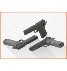 Handgun pistols flat isometric vector