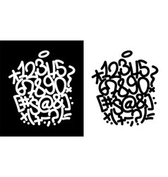 Handwritten digits for graffiti alphabet vector