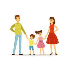 happy family parents and children characters vector image