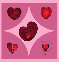 hearts different shapes vector image