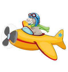 Horse riding airplane on white background vector