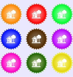 House icon sign big set of colorful diverse vector