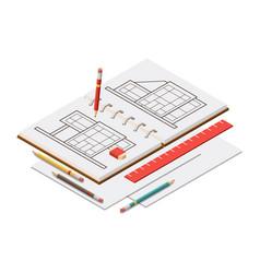 Isometric architect sketchbook vector