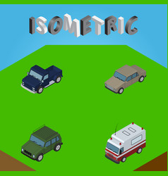 isometric automobile set of first-aid suv vector image