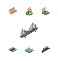 Isometric urban set of carousel aiming game vector