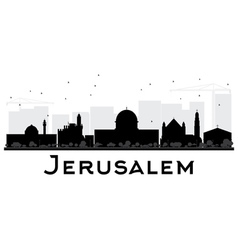 Jerusalem City skyline black and white silhouette vector image
