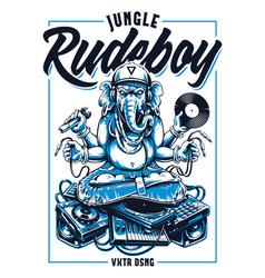 Jungle rude boy ganesha art vector