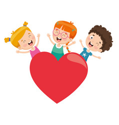 kids playing around a heart vector image