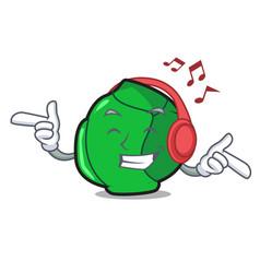 Listening music brussels mascot cartoon style vector