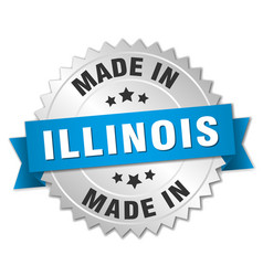 Made in illinois silver badge with blue ribbon vector