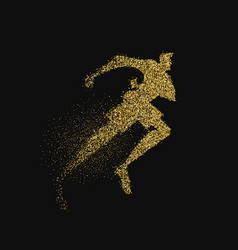 Man running silhouette gold glitter splash vector