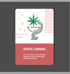 Medical cannabis vertical banner with line icon of vector