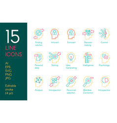 mental activity color linear icons set vector image