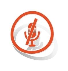 Muted microphone sign sticker orange vector