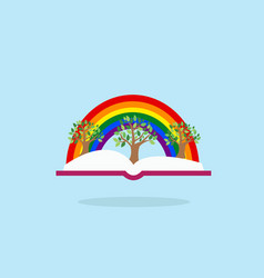 open book with tree and rainbow inspiration vector image
