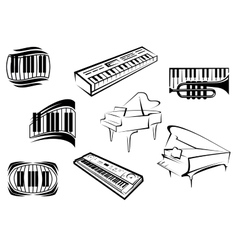 Outline sketch piano music icons vector