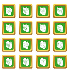 Pants pockets design icons set green square vector