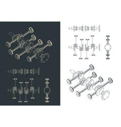 Part horizontally opposed engine blueprints vector