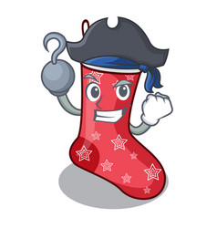 Pirate character christmas sock for decoration vector