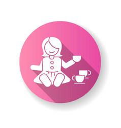 Pretend kitchenware pink flat design long shadow vector