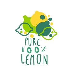 Pure lemon 100 percent logo template original vector