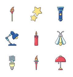 Radiance icons set cartoon style vector