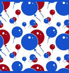 red and blue party balloon pattern on white vector image