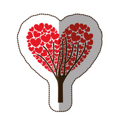 Red tree with heart leaves icon vector
