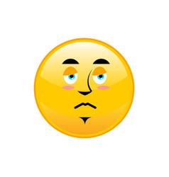 sad emoji isolated dull yellow circle emotion vector image