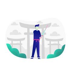 Samurai ninja flat graphic vector