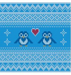 seamless blue penguin knitting background vector image