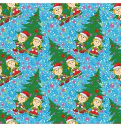 Seamless Christmas background babies and tree vector image
