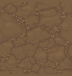 Seamless pattern ground with stones brown soil vector