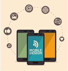 set mobile design media design vector image