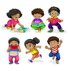 Set of african children vector