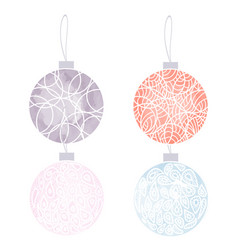 set of hand drawn watercolor christmas balls vector image