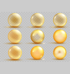 Set of transparent and opaque yellow spheres vector