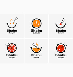 Shabu sukiyaki logo icon graphic japanese buffet vector